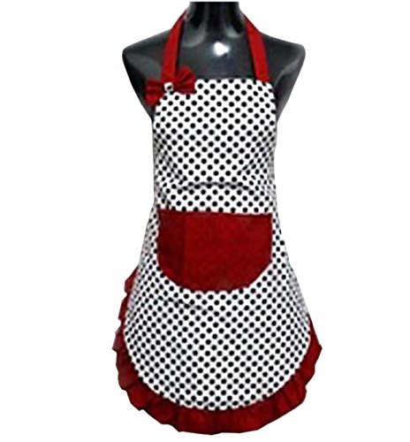 Hyzrz Lovely Lady Dot Flirty Canvas Funny Apron Restaurant Kitchen Aprons for Women Girls with Pocket (Black)
