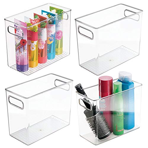 mDesign Slim Plastic Storage Container Bin with Handles – Bathroom Cabinet Organizer for Toiletries, Makeup, Shampoo, Conditioner, Face Scrubbers, Loofahs, Bath Salts – 5″ Wide, 4 Pack – Clear