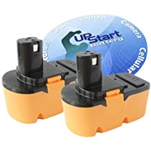 2-Pack Ryobi 18V Battery Replacement - Compatible with Ryobi P100, P501, P300, P3200, P230, P700, P600, P530, P510, P250, P221, P521, P200, P240, P310, P400, P420, P500, P211, P410, P220, P430, P740 (1300mAh, NICD)