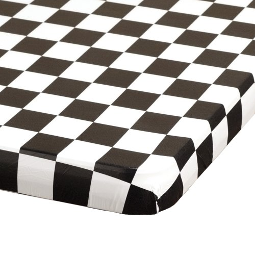 Hoffmaster 221112 Kwik-Cover Plastic Banquet Tablecover, 72'' Length x 30'' Width, Black/White Check (Case of 25) by Hoffmaster