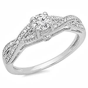 0.55 Carat (ctw) 14K White Gold Round Diamond Solitaire with Accents Ladies Bridal Engagement Ring 1/2 CT (Size 5)