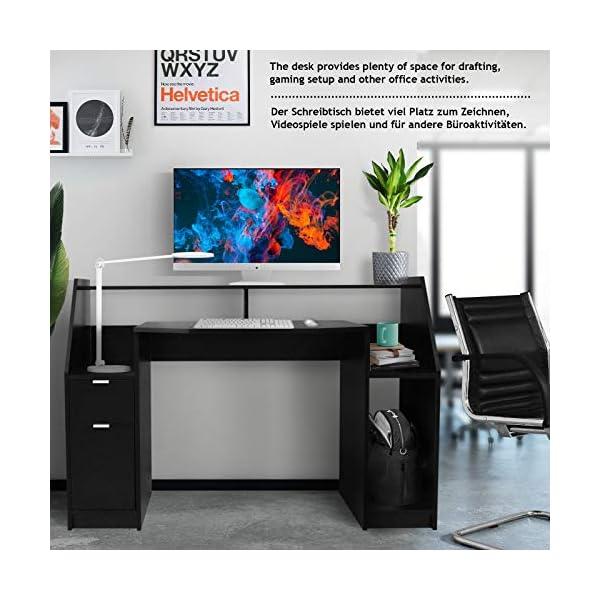 MIADOMODO® Bureau Informatique – Multi-Rangements, 123 x 55 x 90 cm, MDF, Design Moderne, en Noir – Bureau d'Ordinateur…