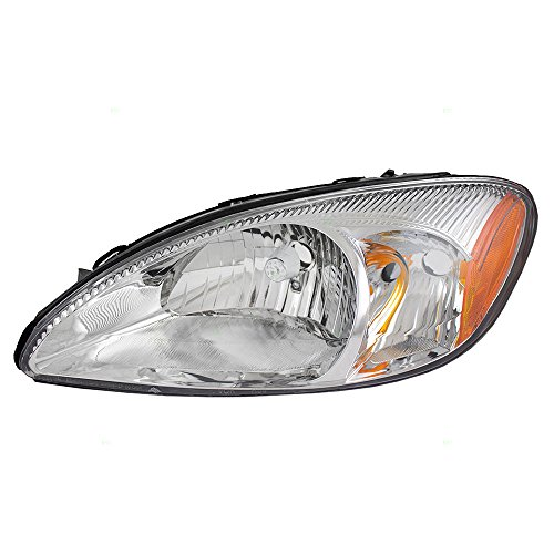 Halogen Headlight Headlamp with Chrome Bezel Driver Replacement for 00-07 Ford Taurus 1F1Z13008AB
