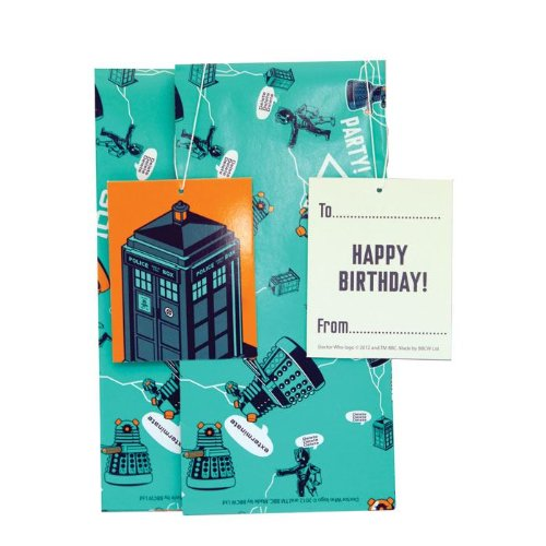 Official Doctor Who - Dalek Gift Wrap Set - 2 Sheets and 2 (Doctor Who Birthday Party Supplies)