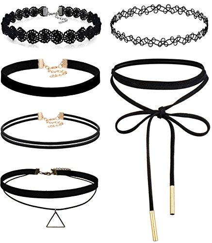 FIBO STEEL 6PCS Womens Black Velvet Choker Necklace for Women Lace Choker Tattoo Necklace