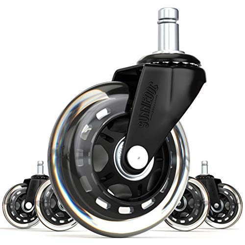 SunnieDog Office 3-Inch Inline Skate Style Office Chair Caster Wheel Replacement, Black (Set of 5) by SunnieDog