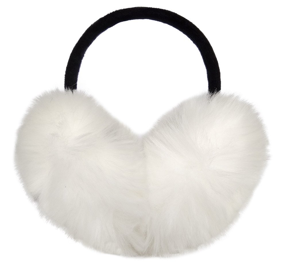 LETHMIK Women's Faux Fur Foldable Big Earmuffs Winter Outdoor Ear Warmers White
