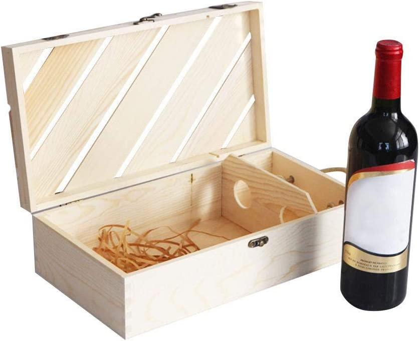 Welltobuy - Caja de Madera para Vino con Tapa corredera, asa de Cuerda, Caja de Regalo de champán de Madera, 2 Botellas (sin Vino), 35 x 19 x 10 cm: Amazon.es: Hogar