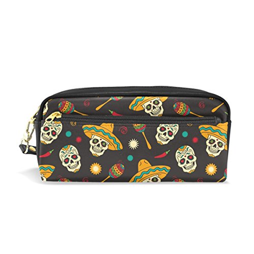 PU Leather Day of the Dead Halloween Funny Floral Sugar Skull and Candy Zipper Pencil Bag Pouch Pen Case Small Makeup Cosmetic Bag Portable Storage Organizer]()