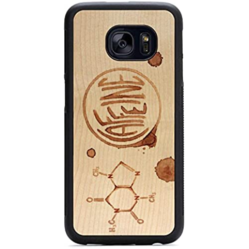 Carved Caffeine Print - Maple - Samsung Galaxy S7 edge Traveler Wood Case - Black Protective Bumper with Real Sales