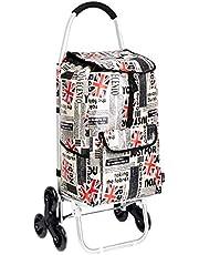 AmazonBasics 3 - Carrello portaspesa con 3 ruote, manici in alluminio, capacità: 50 litri, design modello patchwork