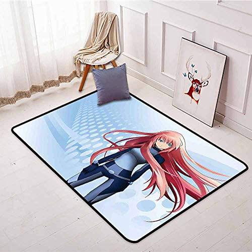 Large Door mat,Anime,Futuristic Manga Girl Science Fiction Doodle Effect Japanese Style Digital Art Print,with No-Slip Backing,3'11