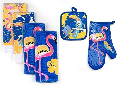 Loving Home Summer Tropical Flamingo or Ocean Sealife Themed Kitchen Dishtowel, Oven Mitt and Potholder Set (Flamingo)