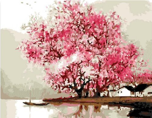 Fun Pretty DIY Painting,Home Decoration Paint By Number Kit canvas Shayson Riverside Rain boat maple Tree decoration for your home 1620 inch ( No Frame - Shops Riverside