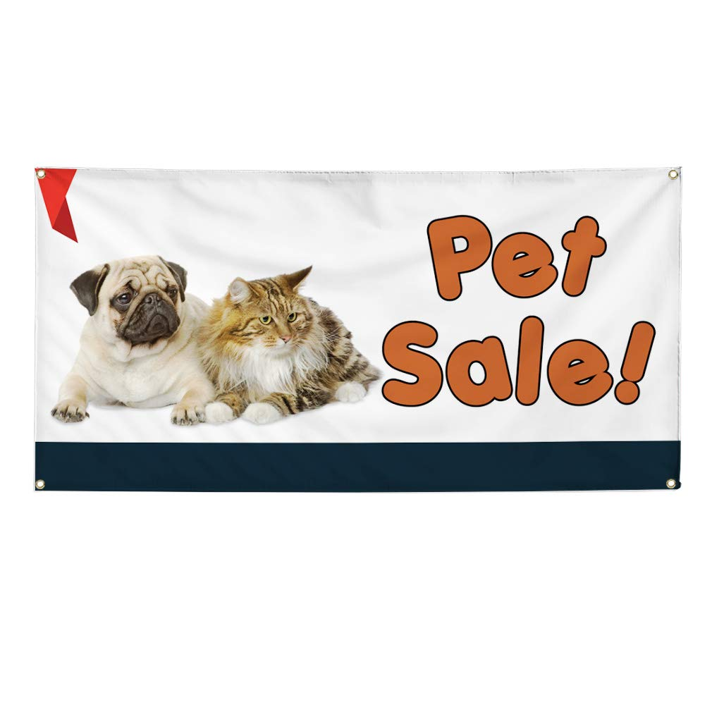 8 Grommets 44inx110in One Banner Vinyl Banner Sign Pet Sale #1 Business Pet Sale Outdoor Marketing Advertising White Multiple Sizes Available