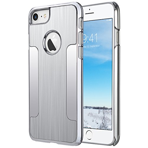 ULAK iPhone 7 Case, Hybrid Aluminum Chrome Coating Bumper Protective Case Cover for Apple iPhone 7 4.7 inch (2016),Silver
