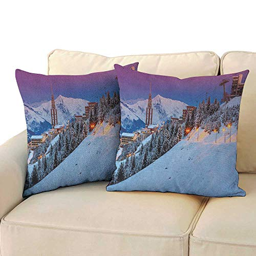 Winter,Breathable Pillowcase Majestic Winter Sunrise Landscape and Ski Resort Spruce Pine Forest French Alps 18