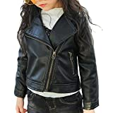 2-6 Aged Toddler Girl's Hot PU Leather Zipper Moto Jacket Autumn Spring Black 120/5T