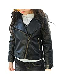 2-6 Aged Toddler Girl's Hot PU Leather Zipper Moto Jacket Autumn Spring 2T-6T