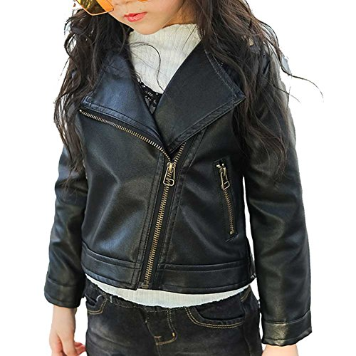 2-6 Aged Toddler Girl's Hot PU Leather Zipper Moto Jacket Autumn Spring Black 90/2T