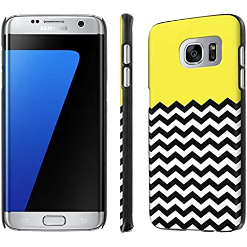 Galaxy [S7 Edge] [5.5 Screen] Phone Case [NakedShield] [Black] Ultra-Slim Jacket Cover Case - [Yellow Chevron] for Samsung Galaxy [S7 Edge] [GS7 Edge] Sales