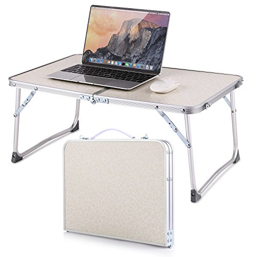 Moroly Aluminum Portable Folding Camping Table with Carrying Handle for Camping/Picnic/Working/Garden/Hiking/Beach/BBQ/Party(US STOCK) (White - Folds in half feature) by Moroly