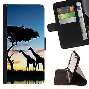 Dragon Case- Mappen-Kasten-Prima caja de la PU billetera de cuero con ranuras para tarjetas, efectivo Compartimiento desmontable y correa para la mu?eca FOR Samsung Galaxy S3 MINI I8190- Giraffe Cute Cartoon