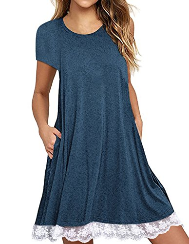 Sanifer Womens Short Sleeve Lace Tunic Dress Plus Size Cotton T Shirt Dress With Pockets  X Large  Blue