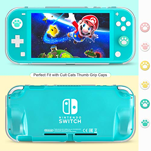 Switch Lite Accessories Bundle kit - Case & Screen Protector for Nintendo Switch Lite Console, Table Stand, Games Holder, TPU Grip Case, 6 pcs Cult Cat Thumb-Grip & More (Hestia Goods Gift Pack)