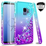 Galaxy S9 Case (Not Fit S9 Plus) with 3D PET Screen Protector [2 Pack] for Girls Women, LeYi Glitter Bling Sparkle Diamond Liquid Quicksand Flowing Phone Case for Samsung Galaxy S9 ZX Teal/Purple