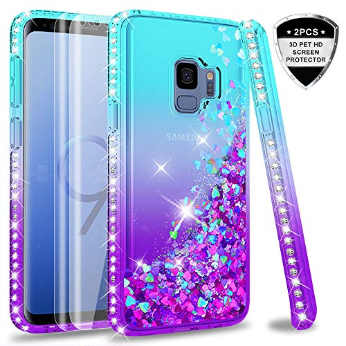 Galaxy S9 Case (Not Fit S9 Plus) with 3D PET Screen Protector [2 Pack] for Girls Women, LeYi Glitter Bling Sparkle Diamond Liquid Quicksand Flowing Phone Case for Samsung Galaxy S9 ZX Teal/Purple ()