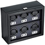WOLF 270702 Heritage 6 Piece Watch Winder with Cover, Black