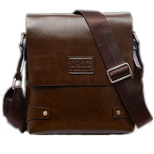 PolarLander Hombres PU Bag Casual Travel Men's Crossbody Bolso Hombres Messenger Bolsos Marrón Brown
