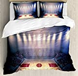 Basketball Duvet Cover Set by Ambesonne, Crowded Basketball Arena Just Before Game Starts School Tournament Theme, 3 Piece Bedding Set with Pillow Shams, Queen / Full, Beige Nacy Brown
