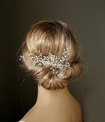Timelessbride Handmade Floral Spray European Crystal & Rhinestone Twig Bridal Hair Comb, Silver Tone -