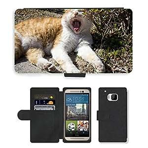 PU LEATHER case coque housse smartphone Flip bag Cover protection // M00129688 Gato Gatos animales Bostezo Parque al // HTC One M9
