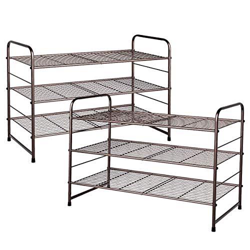 Simple Trending 2 Pack 3 Tier Stackable Shoe Rack, Expandable & Adjustable Shoe Shelf Storage Organizer, Wire Grid, Bronze