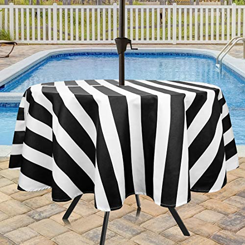 Eforcurtain Classic Stripes Round Zippered Outdoor Tablecloth with Umbrella Hole, 60 Inch Round Water Proof Fabric Patio Table Cover for Picnic Black and White (Round White Table Umbrella With Hole Patio)