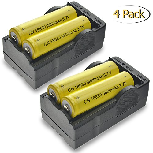 18650 Rechargeable Battery, MOCCO Lithium Ion 9800mAh 3.7V Fast Charge, High-Capacity Rechargeable Lithium Batteries with 2x Dual Charger for Outdoor, LED Flashlights, Headlamps, Laptop (4 Pack)
