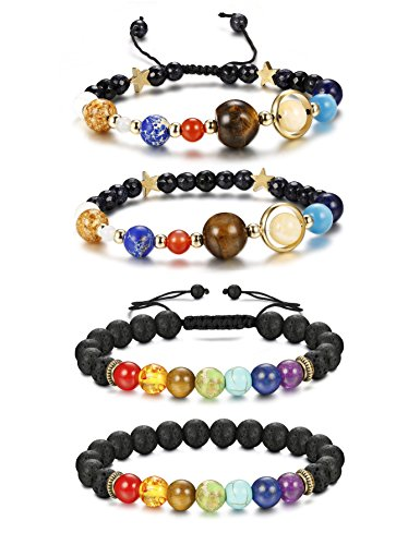 Finrezio 4 Pcs Bead Bracelets for Women Men Solar System & Chakra Stone Diffuser Bracelets Set Aromatherapy Yoga Bracelet 8MM Beaded (Rock System)