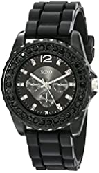 XOXO Women's XO8041 Rhinestone Accent Black Silicone Strap Watch
