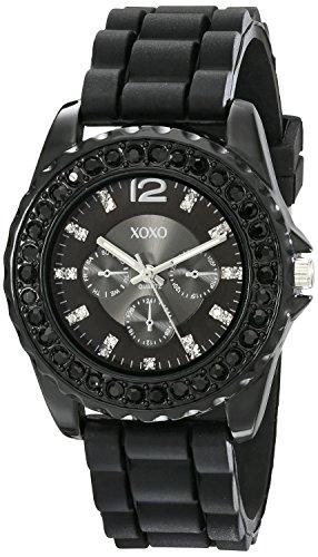 - XOXO Women's XO8041 Rhinestone Accent Black Silicone Strap Watch