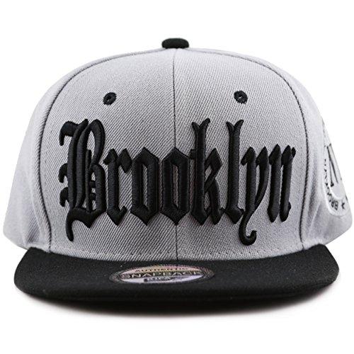 633d6eea0b451 THE HAT DEPOT 1300 Premium Quality Brooklyn Flat Visor Snapback Baseball Cap  (Grey Black)