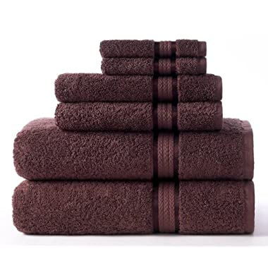 Cotton Craft Ultra Soft 6 Piece Towel Set Chocolate, Luxurious 100% Ringspun Cotton, Heavy Weight & Absorbent, Rayon Trim - 2 Oversized Large Bath Towels 30x54, 2 Hand Towels 16x28, 2 Wash Cloths 12x12