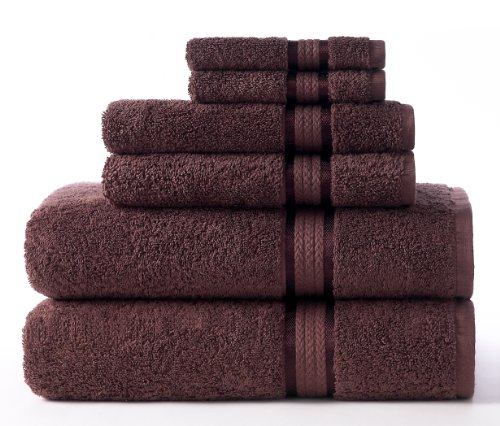 Bath Towel Chocolate (Cotton Craft Ultra Soft 6 Piece Towel Set Chocolate, Luxurious 100% Ringspun Cotton, Heavy Weight & Absorbent, Rayon Trim -2 Oversized Large Bath Towels 30x54, 2 Hand Towels 16x28, 2 Wash Cloths 12x12)