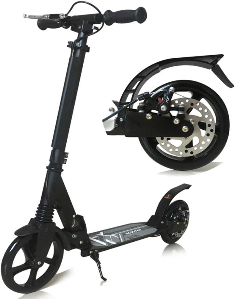 キックボード キックスクーター キックスクーターロード150キロ、ハンドブレーキ付きブラックホワイトスクーター、2つの大きな車輪通勤用大人ティーン用誕生日プレゼント (色 : ブラック) ブラック