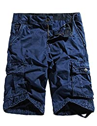 WenVen Men's Cotton Cargo Shorts