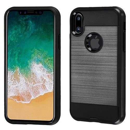 superior quality 21c1e cca13 Amazon.com: For Apple iPhone X Brushed Metal HYBRID Rubber Case ...