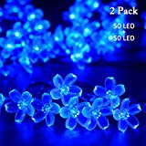 VMANOO Solar Christmas String Lights 21ft 50 LED Blossom Flower Starry Fairy Lights Decorative Lighting for Garden Patio Tree Party Bedroom Xmas Decorations Indoor and Outdoor 2-Pack (Blue)