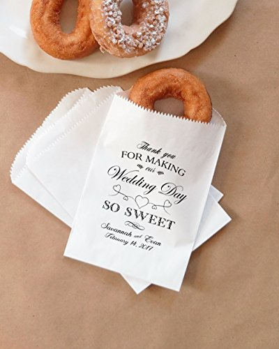 Wedding Donut Bags, Cookie Bags, Party Favor, Dessert Table, Bakery Bags, White Favor Bags - Personalized - Lined, Grease Resistant - Set of 25 ()